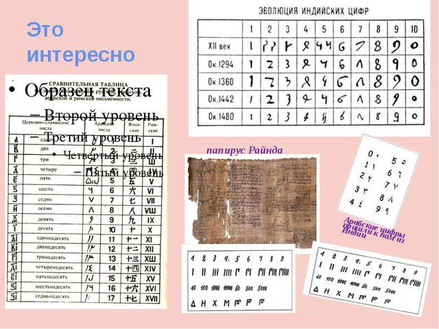 Это интересно папирус Райнда Арабские цифры пришли к нам из Индии
