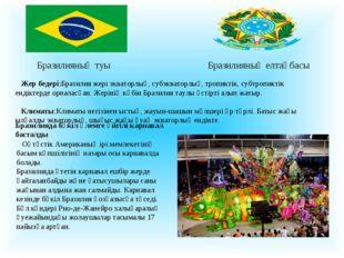 Бразилияның туы Бразилияның елтаңбасы Жер бедері:Бразилия жері экваторлық,