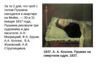 1837. А. А. Козлов. Пушкин на смертном одре. 1837. За те 2 дня, что гроб с те