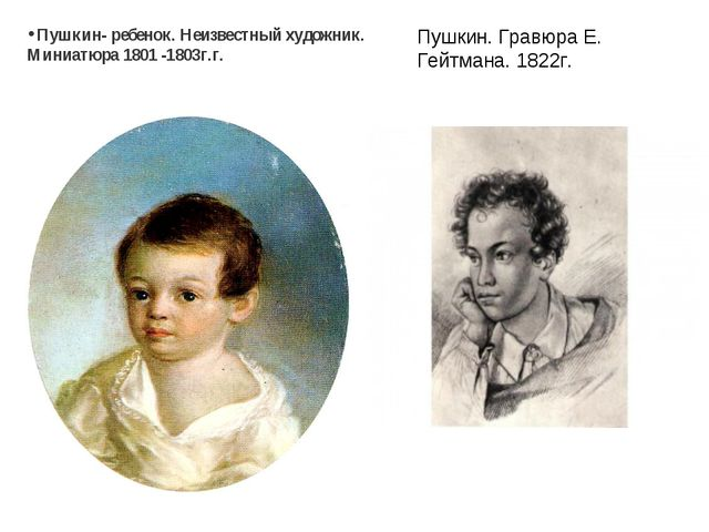 Пушкин- ребенок. Неизвестныйхудожник. Миниатюра 1801 -1803г.г. Пушкин.Гравю...