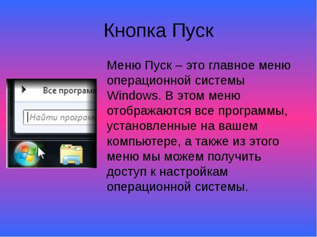 Кнопка Пуск Меню Пуск – это главное меню операционной системы Windows. В этом...