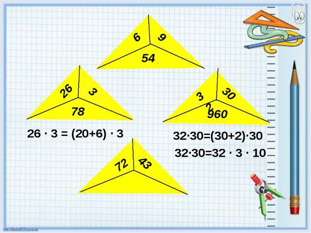6 9 54 26 3 78 32 30 960 43 72 26 · 3 = (20+6) · 3 32·30=(30+2)·30 32·30=32...