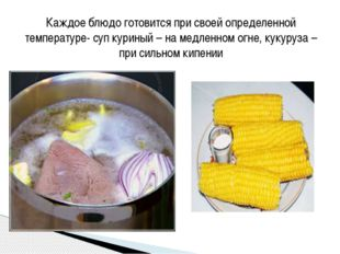 Каждое блюдо готовится при своей определенной температуре- суп куриный – на м