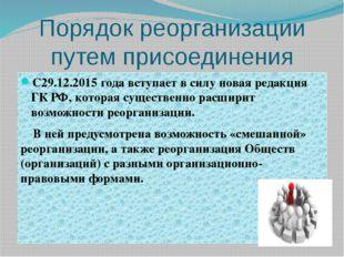 Порядок реорганизации путем присоединения С29.12.2015 года вступает в силу но
