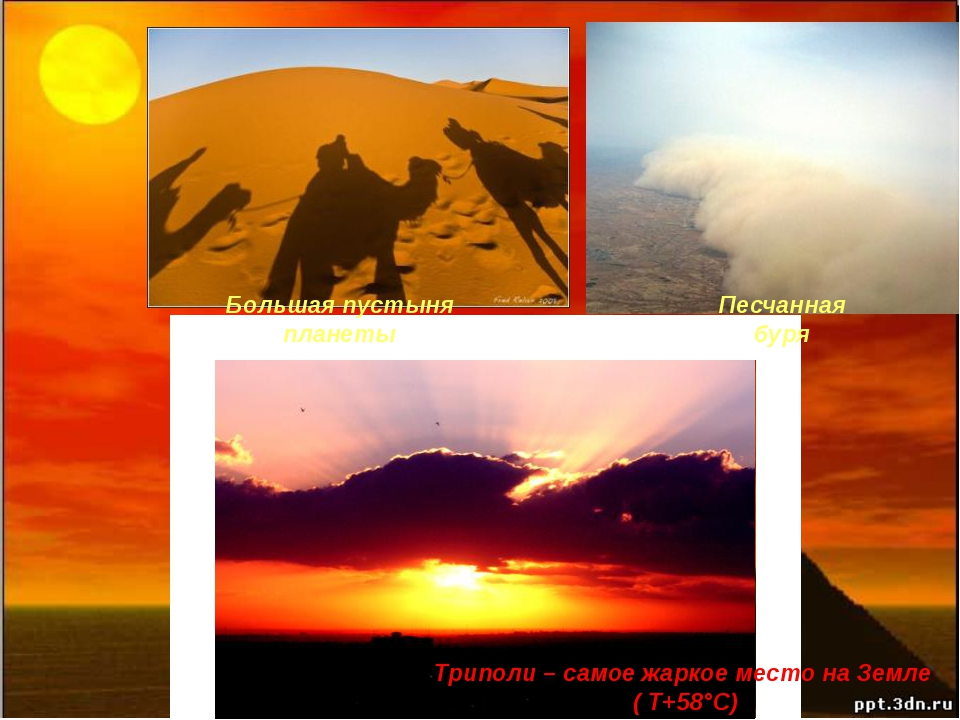 Триполи – самое жаркое место на Земле ( Τ+58°C) Большая пустыня планеты Песч...