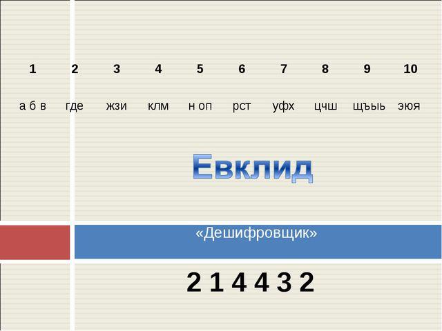 2 1 4 4 3 2 «Дешифровщик» 1 2 3 4 5 6 7 8 9 10 а б в где жзи клм...