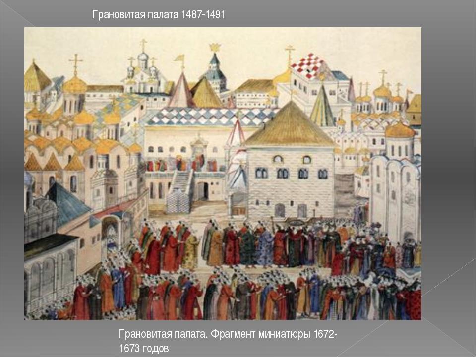 Грановитая палата 1487-1491 Грановитая палата. Фрагмент миниатюры 1672-1673 г...