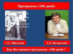 Программа «500 дней» С.С. Шаталин Г.А. Явлинский Как Вы оцените программу «50