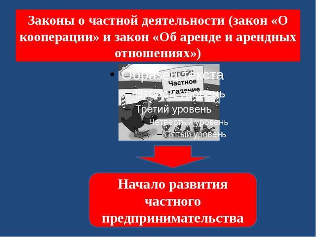 Законы о частной деятельности (закон «О кооперации» и закон «Об аренде и арен...