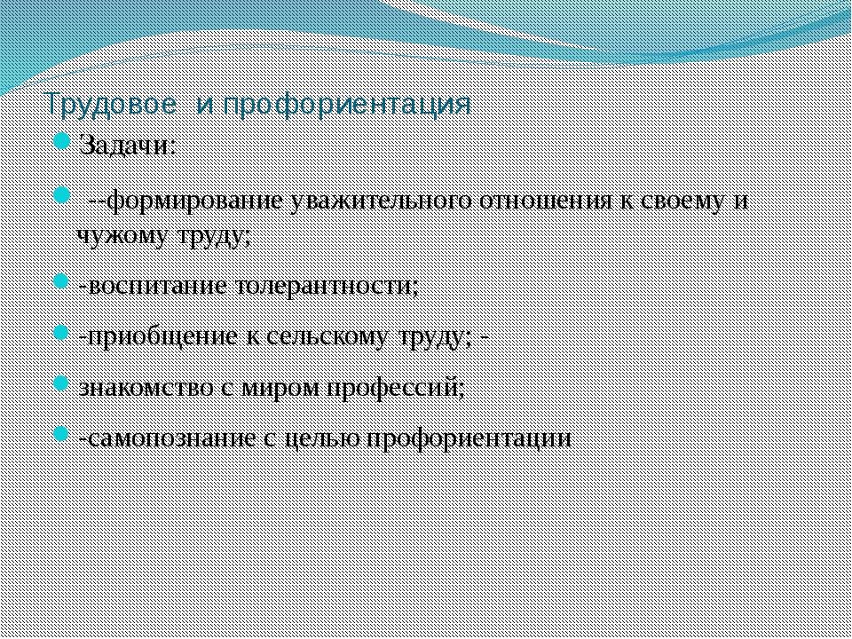 Трудовое и профориентация Задачи: --формирование уважительного отношения к св...