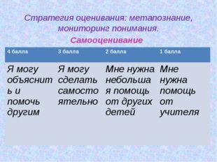 Стратегия оценивания: метапознание, мониторинг понимания. Самооценивание 4 б