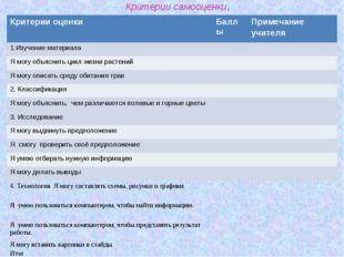 Критерии самооценки. Критерии оценкиБаллыПримечание учителя Изучение матери