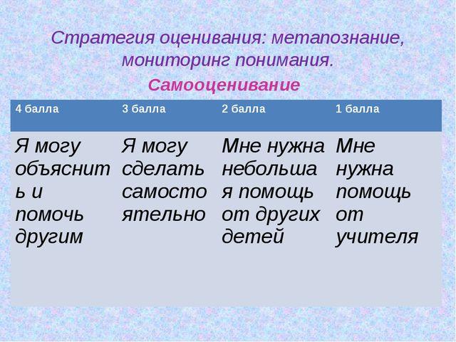 Стратегия оценивания: метапознание, мониторинг понимания. Самооценивание 4 б...