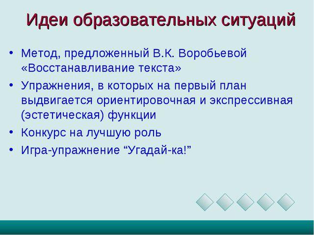 Идеи образовательных ситуаций Метод, предложенный В.К. Воробьевой «Восстанавл...