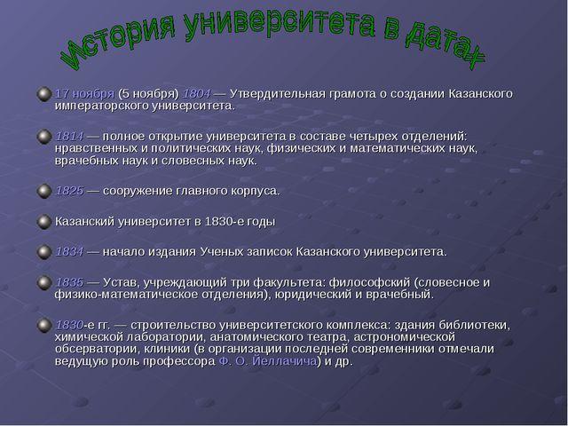 17 ноября (5 ноября) 1804— Утвердительная грамота о создании Казанского импе...