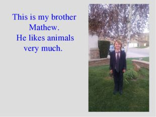 This is my brother Mathew. He likes animals very much.