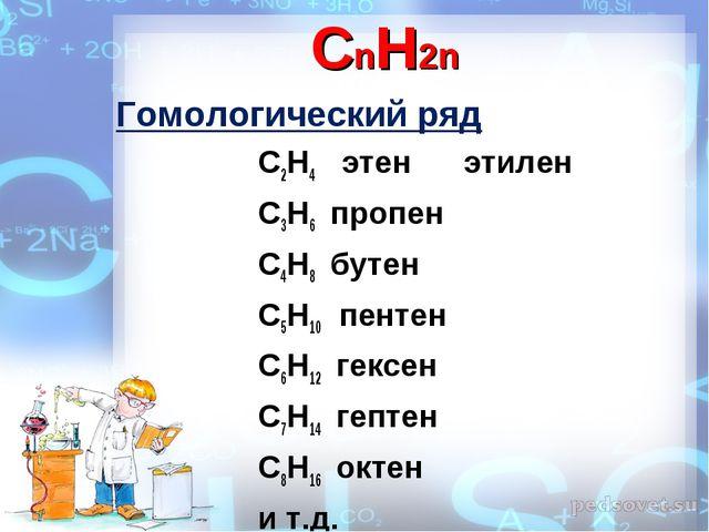 CnH2n Гомологический ряд С2Н4 этен этилен С3Н6 пропен С4Н8 бутен С5Н...