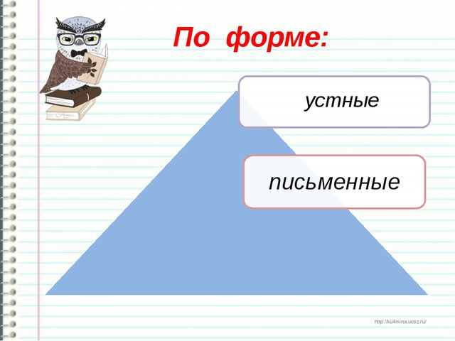 По форме: устные http://ku4mina.ucoz.ru/ http://ku4mina.ucoz.ru/