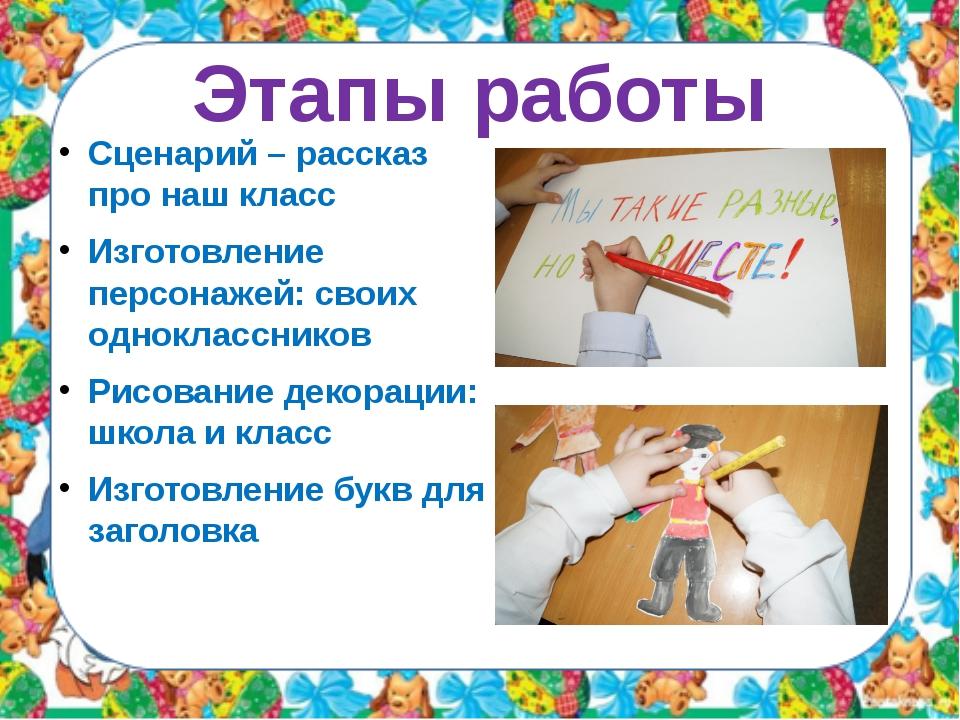 Этапы работы Сценарий – рассказ про наш класс Изготовление персонажей: своих...
