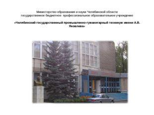Министерство образования и науки Челябинской области государственное бюджетно
