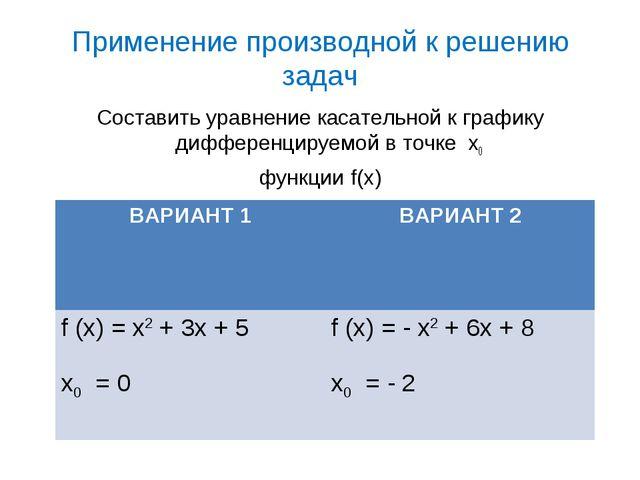 Применение производной к решению задач Составить уравнение касательной к граф...