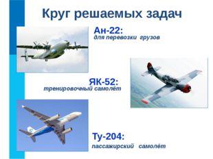 Круг решаемых задач Ан-22: для перевозки грузов Ту-204: пассажирский самолёт