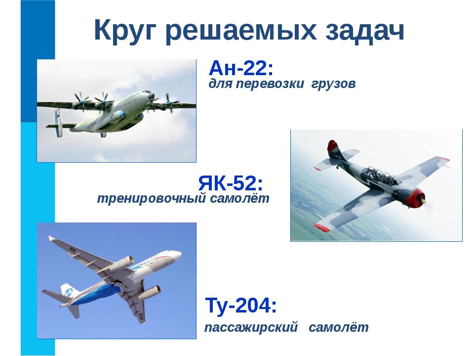 Круг решаемых задач Ан-22: для перевозки грузов Ту-204: пассажирский самолёт...