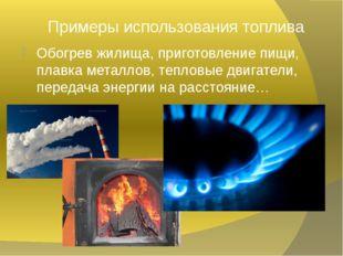 Примеры использования топлива Обогрев жилища, приготовление пищи, плавка мета