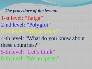 """The procedure of the lesson: 1-st level: """"Baiga"""" 2-nd level: """"Polyglot"""" 3-rd"""