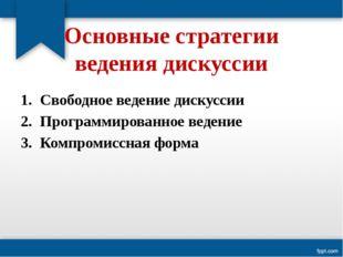 Основные стратегии ведения дискуссии Свободное ведение дискуссии Программиро