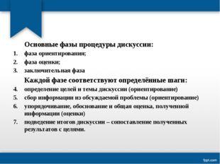 Основные фазы процедуры дискуссии: фаза ориентирования; фаза оценки; заключи