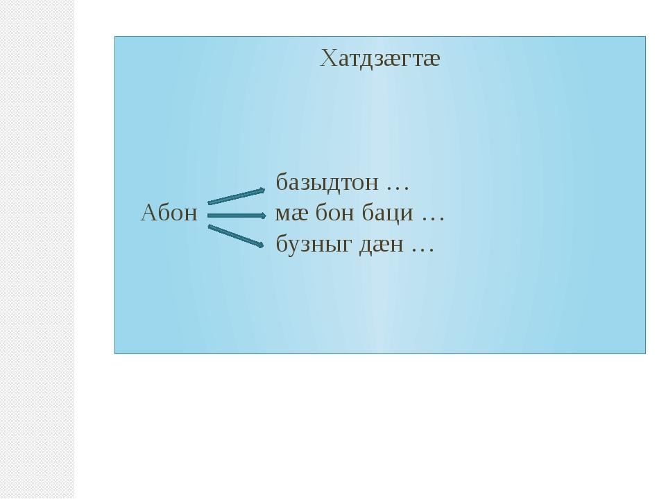 Хатдзæгтæ базыдтон … Абон мæ бон баци … бузныг дæн …