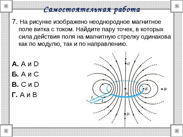 Самостоятельная работа 7. На рисунке изображено неоднородное магнитное поле в...