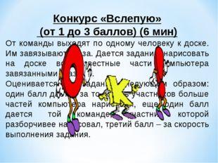 Конкурс «Вслепую» (от 1 до 3 баллов) (6 мин) От команды выходят по одному че