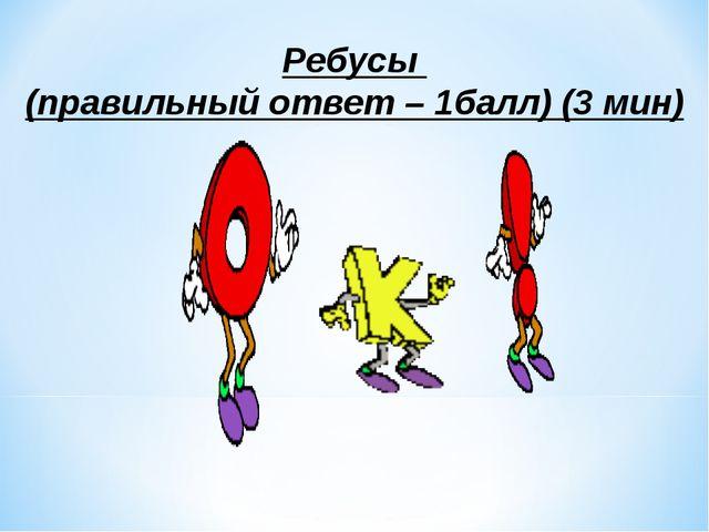 Ребусы (правильный ответ – 1балл) (3 мин)