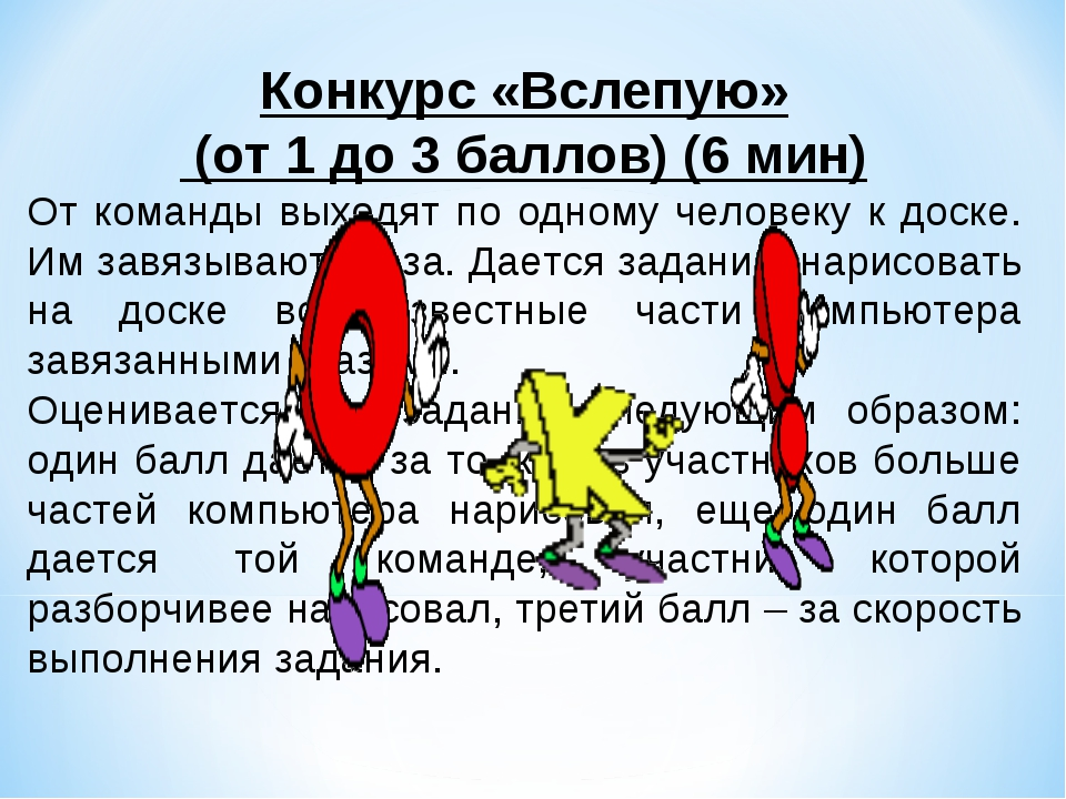 Конкурс «Вслепую» (от 1 до 3 баллов) (6 мин) От команды выходят по одному че...