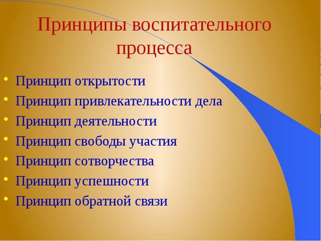 Принципы воспитательного процесса Принцип открытости Принцип привлекательност...