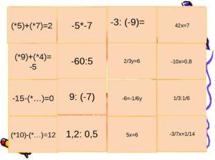 (*9)+(*4)= -5 -60:5 2/3у=6 -10х=0,8 -15-(*…)=0 9: (-7) -6=-1/6у 1/3:1/6 (*5)+