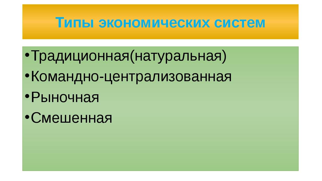 Традиционная(натуральная) система Способ организации экономической жизни, при...