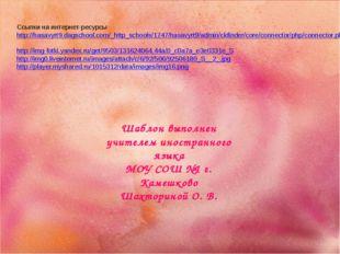 Ссылки на интернет-ресурсы http://hasavyrt9.dagschool.com/_http_schools/1747/