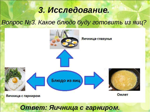 3. Исследование. Вопрос №3. Какое блюдо буду готовить из яиц? Ответ: Яичница...
