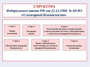 СТРУКТУРА Федерального закона РФ от 21.12.1994 № 69-ФЗ «О пожарной безопасно