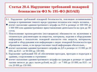 Статья 20.4. Нарушение требований пожарной безопасности ФЗ № 195-ФЗ (КОАП) 6.