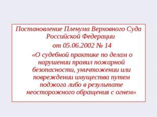 Постановление Пленума Верховного Суда Российской Федерации от 05.06.2002 № 14