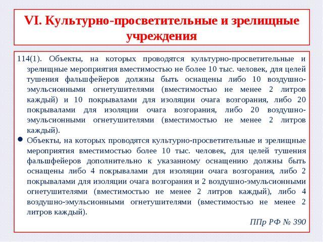 VI. Культурно-просветительные и зрелищные учреждения 114(1). Объекты, на кото...