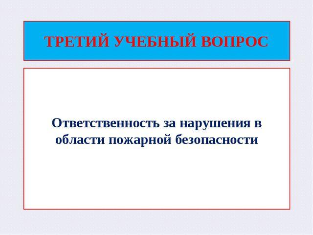 ТРЕТИЙ УЧЕБНЫЙ ВОПРОС Ответственность за нарушения в области пожарной безопас...