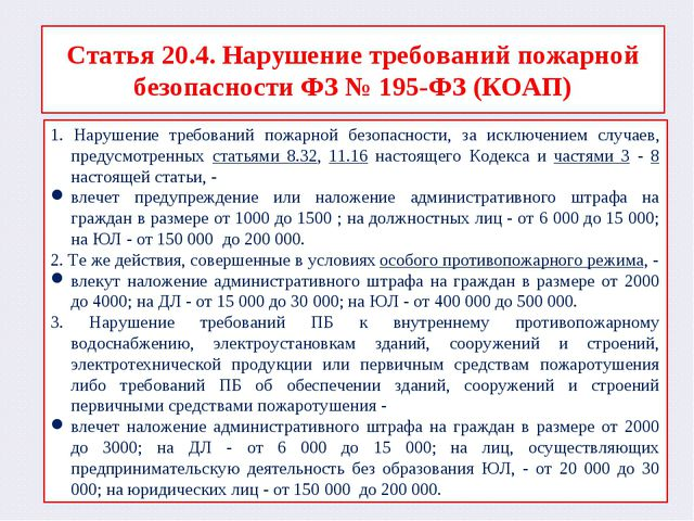 Статья 20.4. Нарушение требований пожарной безопасности ФЗ № 195-ФЗ (КОАП) 1....