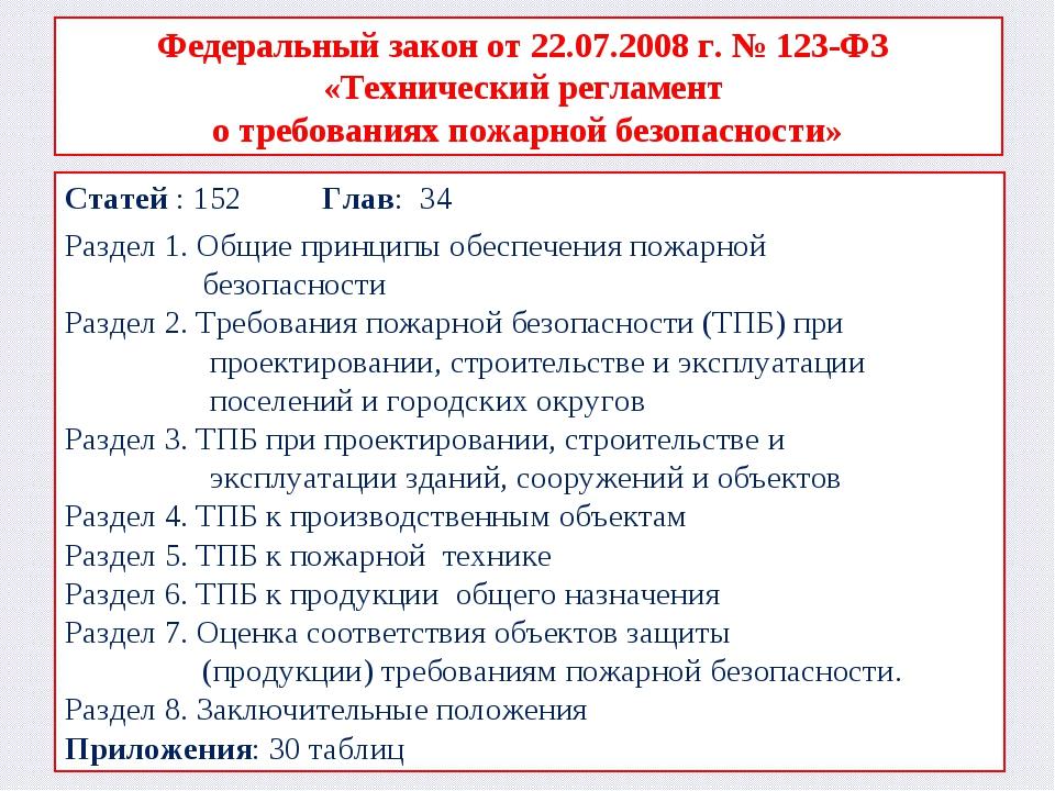Федеральный закон от 22.07.2008 г. № 123-ФЗ «Технический регламент о требован...