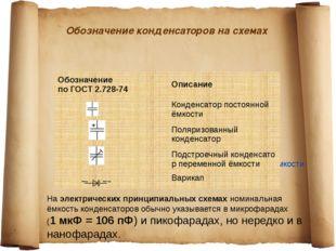 Обозначение конденсаторов на схемах Наэлектрических принципиальных схемахно