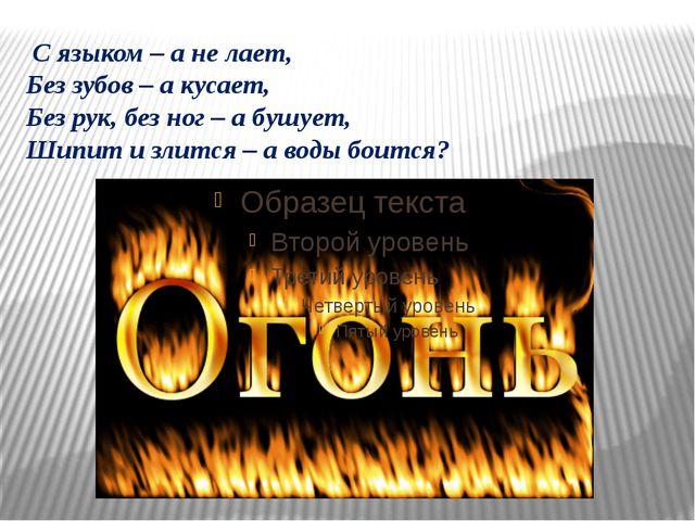 С языком – а не лает, Без зубов – а кусает, Без рук, без ног – а бушует, Шип...